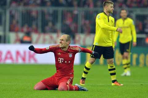 Arjen Robben celebrates against Borussia Dortmund