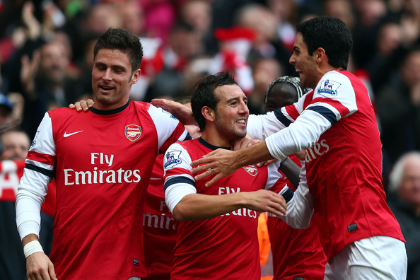 Arsenal celebrate in their 5-2 victory over Tottenham